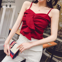 GUUZYUVIZ Red Sexy Ruffles Sleeveless Top Tank Women 2018 Bustier Fitness Casual Crop Top Summer Chic