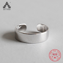 925 Sterling Silver Jewelry Fashion Glossy Opening Ring for Women Men Couples Simple Wedding Rings Bague Femme 925 sterling silver lucky cloud rings for women jewelry fashion opening adjustable finger ring lady gift bague femme