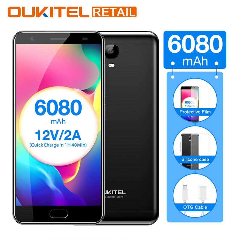 Oukitel K6000 Plus 5.5 FHD MTK6750T Octa Core Android 7.0 4GB RAM 64GB ROM 16MP 6080mAh Fast Charge Fingerprint 4G Smartphone