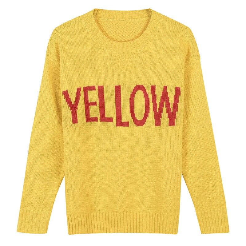 SRUILEE Brand Design Yellow Letters Jumper 2017 Autumn Winter New Fashion Cute Jersey Women Sweater Pullover Knit Top Runway SZ1
