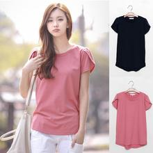 Yfashion Solid Color Cotton T-shirt Women Summer Loose Round Collar Short Sleeve Soft Casual Fashion T Shirts Tee Female