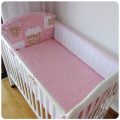 Promotion! 5PCS bear Crib bedding set cot bumper bed sheet Cot bedding set,include:(bumper+sheet)