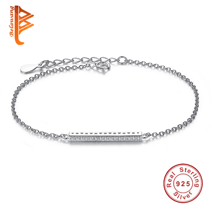 BELAWANG 925 Sterling Silver Link & Chain Bracelet for Women Clearly CZ Crystal Bracelet Adjustable Sterling-silver-jewelryBELAWANG 925 Sterling Silver Link & Chain Bracelet for Women Clearly CZ Crystal Bracelet Adjustable Sterling-silver-jewelry