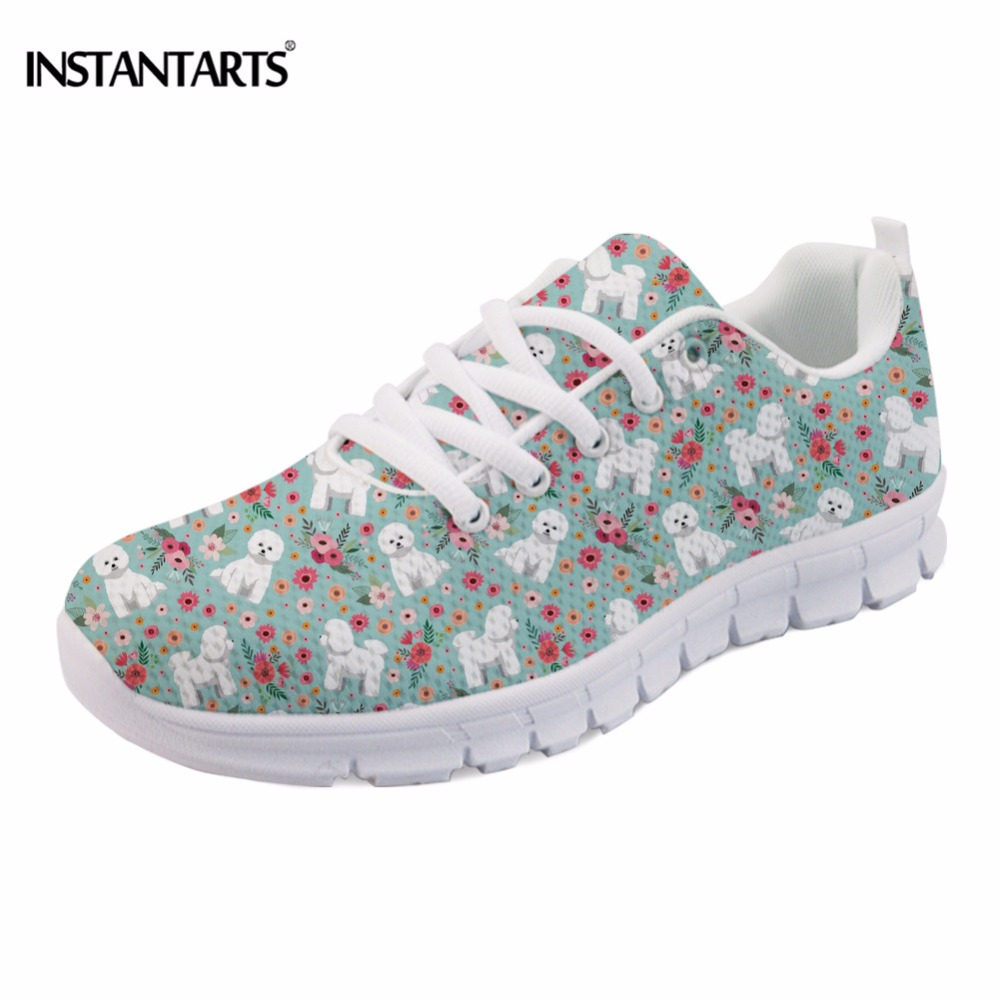 INSTANTARTS Cute 3D Animal Bichon Frise Flower Print Women Flat Shoes Fashion Female Sneakers Casual Comfortable Mesh Flat Shoes instantarts fashion women flats cute cartoon dental equipment pattern pink sneakers woman breathable comfortable mesh flat shoes