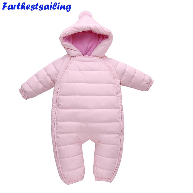 Spring Winter Baby Romper Newborn Duck Down Snowsuit Outdoor Infant Clothes Girl Overall for Boy Kid Jumpsuit Outerwear spring baby romper infant boy bear romper newborn hooded animal clothes toddler cute panda romper kid girl jumpsuit baby costume