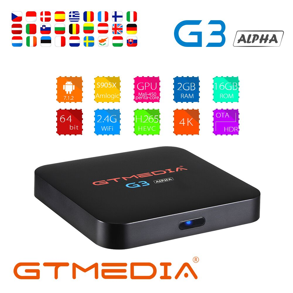 Boîtier TV GT MEDIA G3 Android 7.1.2 OS boîtier TV intelligent 2 GB 16 GB Amlogic S905X Quad Core 2.4 GHz WiFi décodeur 1 GB 8 GB pk X96 mini ES