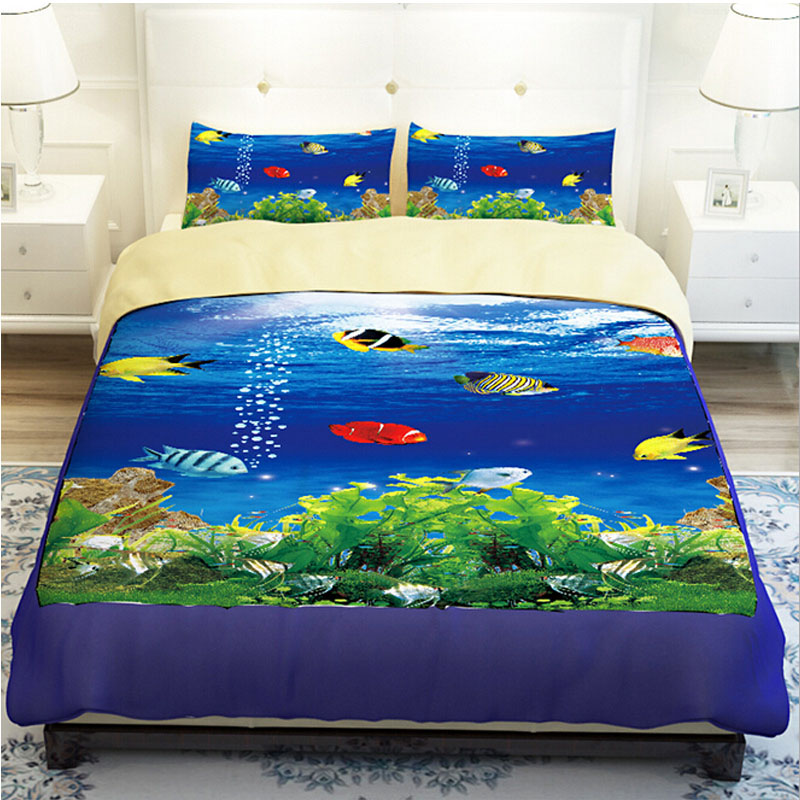 Blue Sea Underwater Colorful Fish Bedding Sets Twin Queen