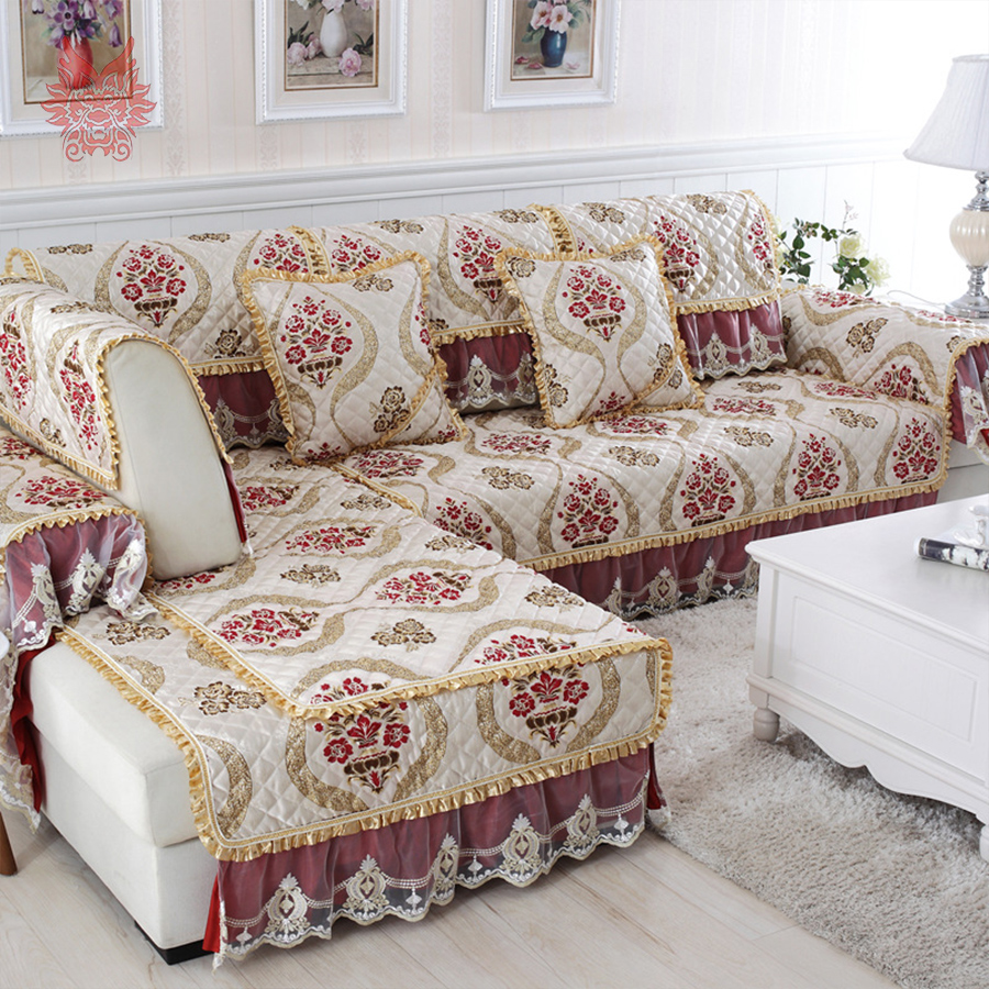 Europe Style High Grade Floral Jacquard Quilted Sofa Cover