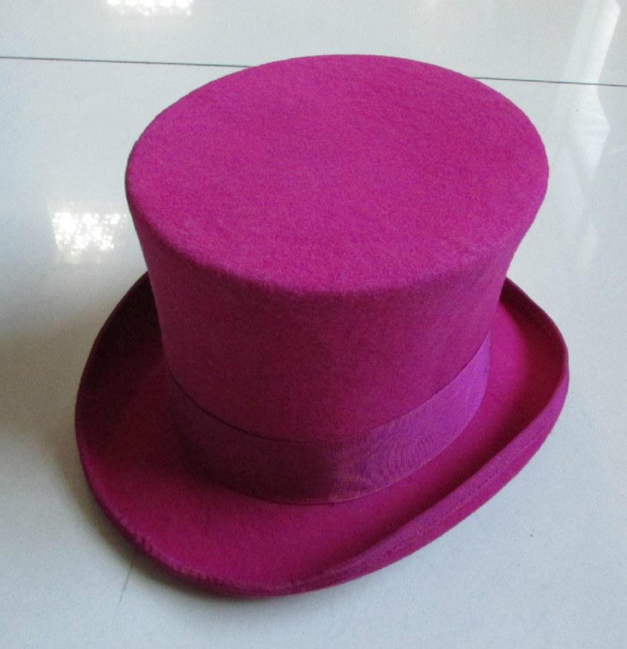 100% Wool Vintage Top Hat 18cm Tall Pink Crown Hat Retro Victorian Magic Hat for Adult Women Men
