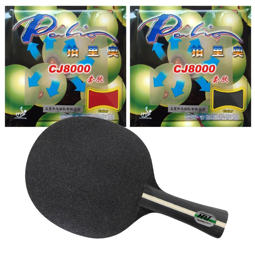 Original Pro Table Tennis Combo Racket: HRT Black Crystal Blade with 2x Palio CJ8000 (40-42 degree) Rubbers Long Shakehand FL pro table tennis pingpong combo racket palio infinite 3 blade with 2x palio cj8000 h36 38 rubbers