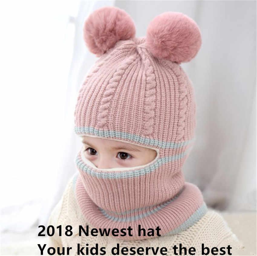 ed6ec62b Yyun Children winter Balaclava Boys Girls Warm Soft Knit Beanie Scarf Toddler  Kids Pompom Face Mask