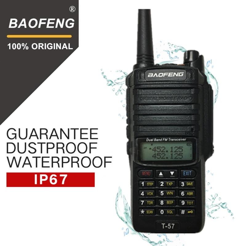 """טלוויזיות 25 29 Baofeng T-57 5W משדר VHF Waterproof מכשיר קשר CB רדיו תחנת ניידת כף יד 10 ק""""מ ארוך הטווח UV-9R שתי דרך רדיו (1)"""