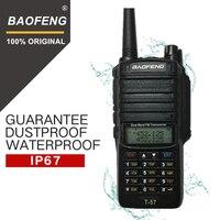 "baofeng uv Baofeng T-57 5W משדר VHF Waterproof מכשיר קשר CB רדיו תחנת ניידת כף יד 10 ק""מ ארוך הטווח UV-9R שתי דרך רדיו (1)"