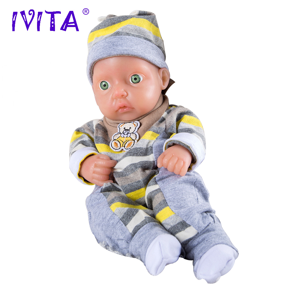 IVITA 850g 11inch So Cool Lifelike FULL BODY SILICONE Reborn Baby Doll Girl Moppet Little Cute Child With Colthes