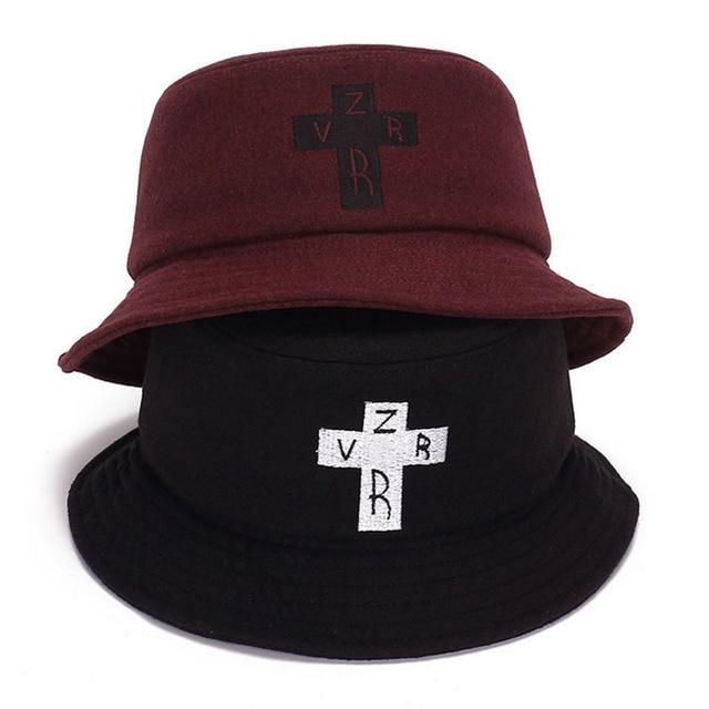 2017 new warm cross letter bucket hat fisherman panama cap bob chapeau  brand autumn winter bucket hat for men women hip hop hat ebf51858de7