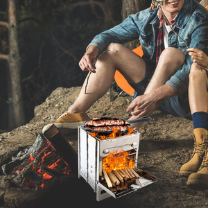 Image 5 - Folding Stainless Steel Backpacking Wood Burning Stove Mini BBQ Grill with Carry Bag for Backpacking Hiking Camping Cooking
