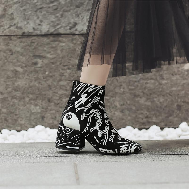 Hauts Chaussures De Femmes À Mode Club Nouveau Femme Automne Perfetto Talons Affiches Base Punk Noir Zipper Prova Bottes Cheville Hiver Nuit Parti B6p7C