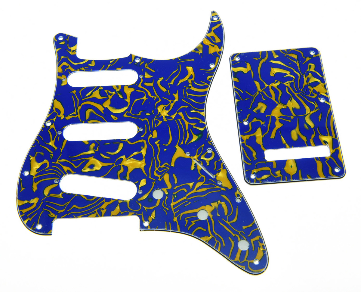 ST SSS Pickguard Trem Tremolo Cover and Screws Blue Shell 3 Ply