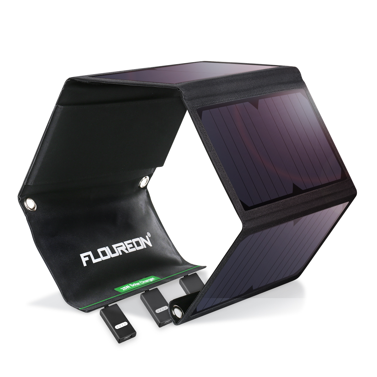 FLOUREON 28W Foldable Waterproof Solar Panel Charger Mobile Power Bank For Smartphones Tablets Triple USB Ports Outdoor