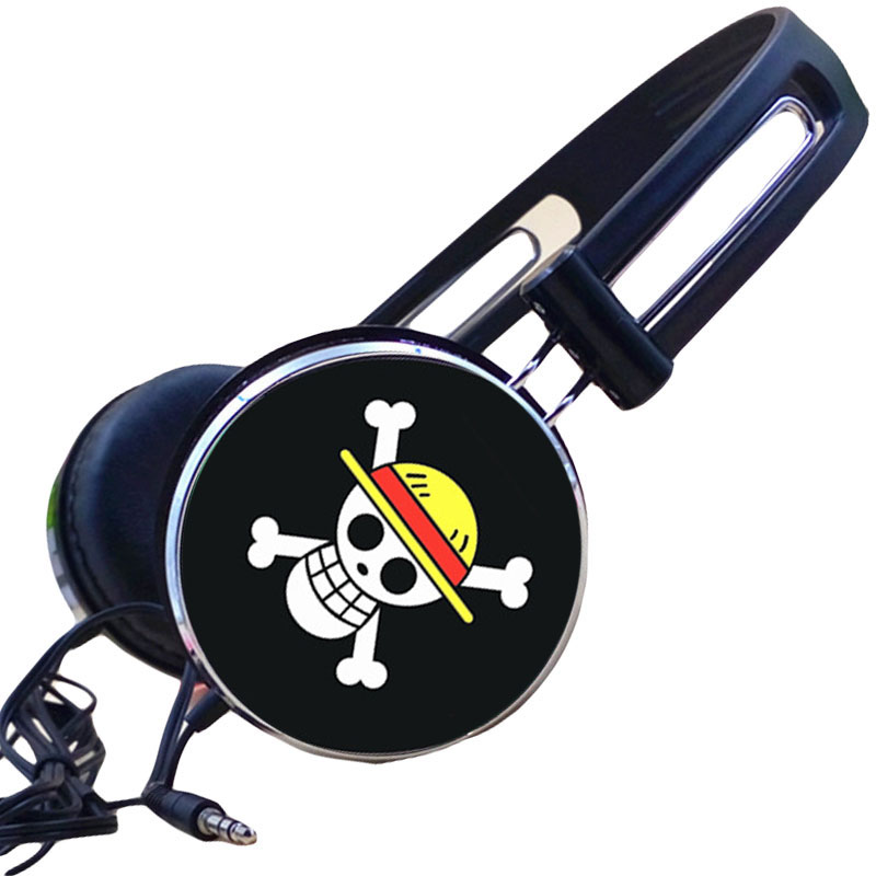 MLLSE Anime One Piece Luffy Strawhat Pirates Skull Headphone Earphone Gaming Headset Headphones for Iphone Samsung Xiaomi Huawei