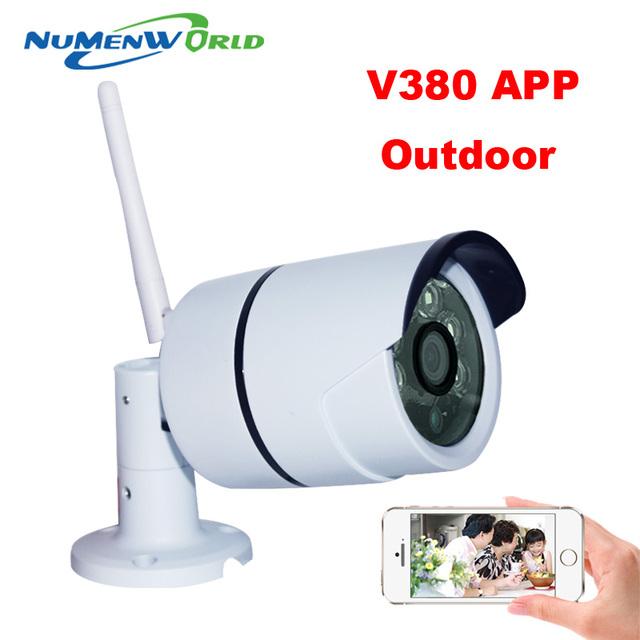 Câmera ip wifi 720 p hd apoio cartão micro sd à prova d' água Camara P2P Infravermelho Ao Ar Livre Sem Fio de Segurança CCTV IR CAM Rede V380