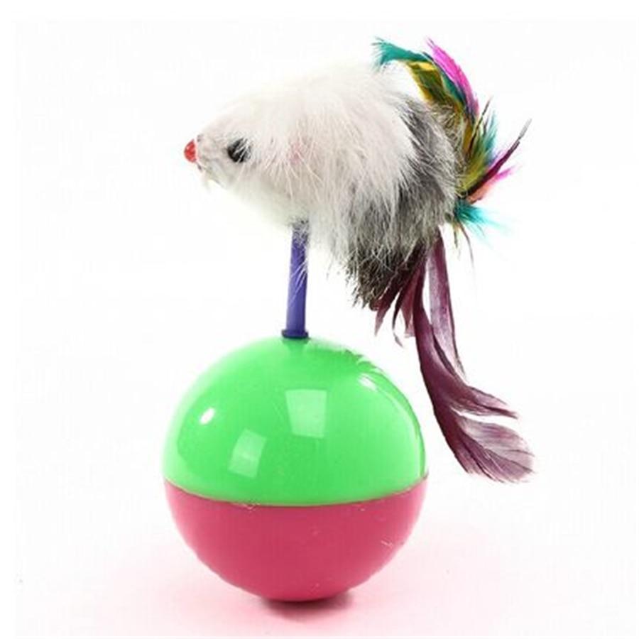 Товары для кошек Игрушка-неваляшка Мышь Перо домашних животных интерактивные продукты Ко ...