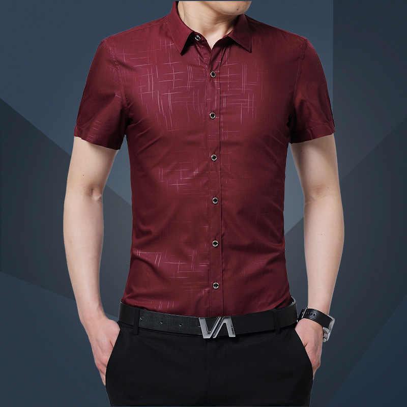 1 ppiezas camisas de talla grande para hombre 2019 otoño seda pura mangas cortas Casual camisas de vestir para hombres camisas delgadas overhemd tops niños