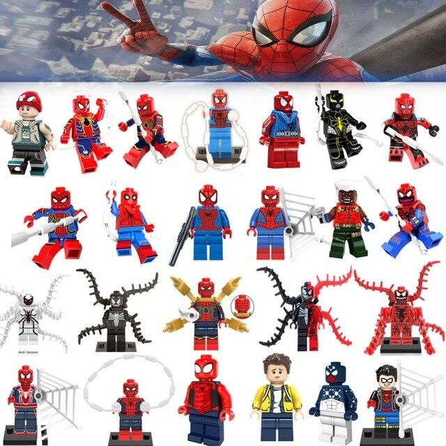 Única Venda Legoing Spiderman Super-heróis Homem De Ferro Thor Loki Deadpool Gwen Venom Spider man batman Avengers Blocos de Construção de Brinquedos