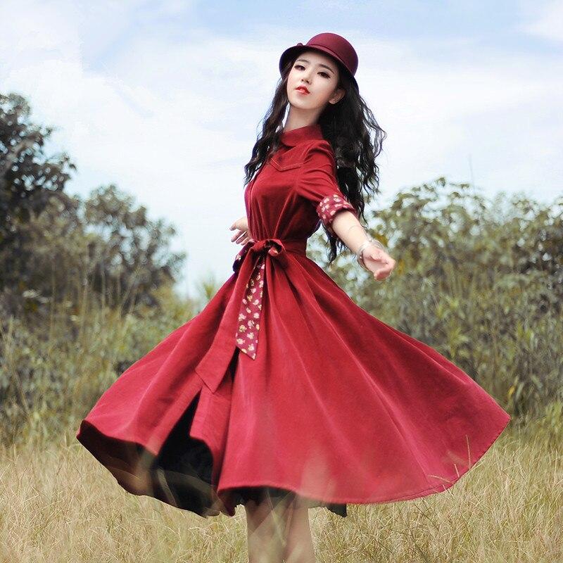 Kadın Giyim'ten Elbiseler'de BOSHOW İlkbahar Sonbahar Kadınlar Kırmızı Kadife Midi Elbise Bayanlar Vintage Retro Sevimli Ince Uzun Kollu Resmi Elbise vestido curto jurken'da  Grup 3