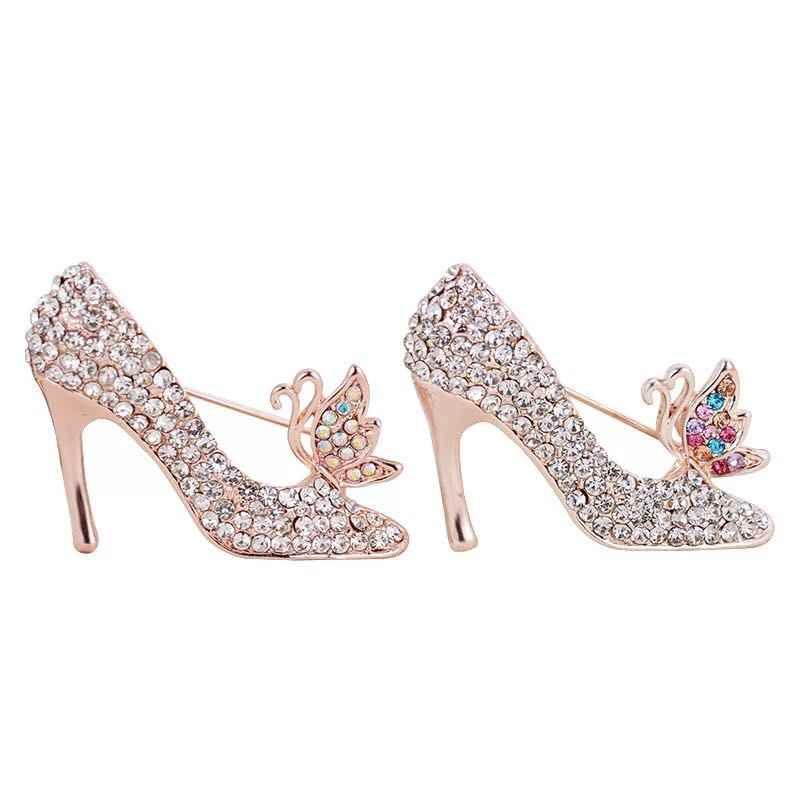 New Kreatif Kepribadian Berlian Imitasi Fashion Tinggi Heels Bros Perempuan Kristal Aksesoris Pakaian Bros Charm Perhiasan