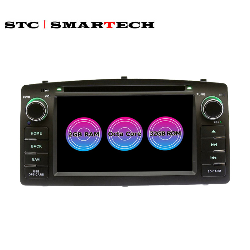 SMARTECH <font><b>2</b></font> <font><b>Din</b></font> 8 Core Android Car DVD Player GPS Navigation Autoradio For Toyota Corolla E120 Support Car TPMS OBD Wifi 4G/3G image