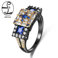 ZHE FAN Blue White Geometric Women Rings AAA Cubic Zirconia Luxury Jewelry Black Gold Color 2