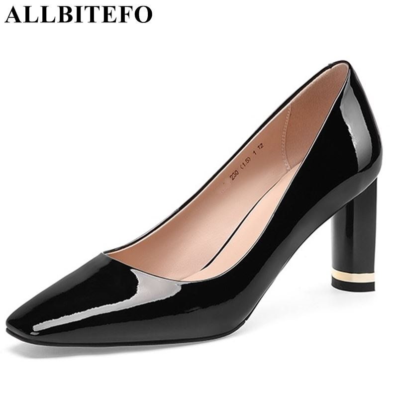 ALLBITEFO brand genuine leather woman shoes high heel shoes spike heels high quality sexy ladies girls early spring woman shoes