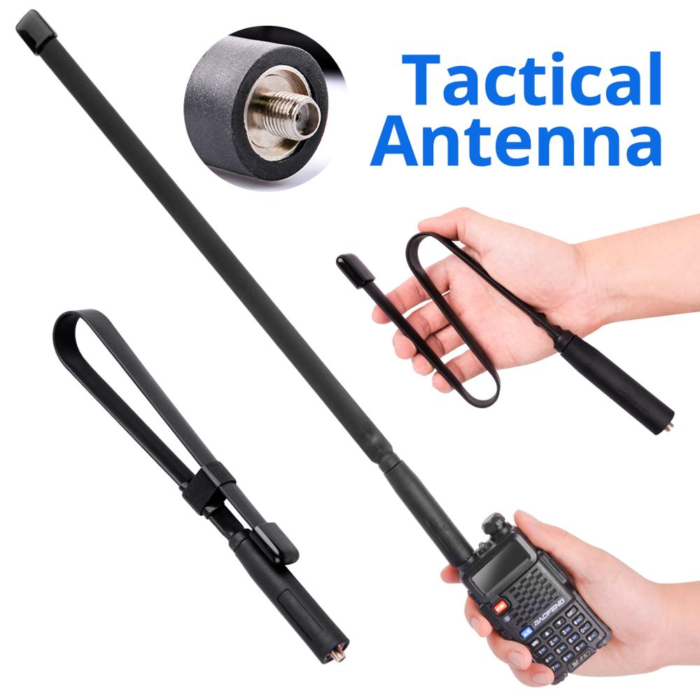 Walkie Talkie Foldable Tactical Antenna SMA-F UHF VHF Dual Band For Baofeng UV-5R UV-82 Radio Long Range Extend Gain Antenna