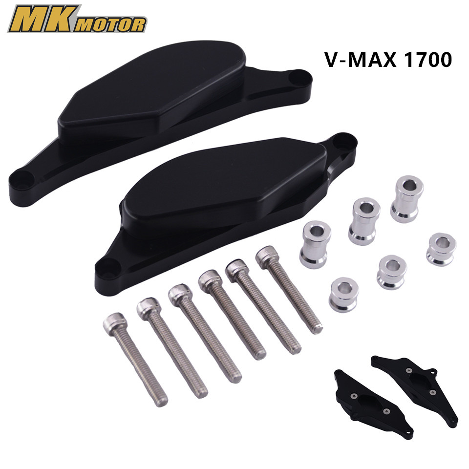 For Yamaha V-MAX 1700 2009-2013 Motorcycle Engine Case Guard Cover Frame Slider Crash Protector with VMAX Logo chrome custom motorcycle skeleton mirrors for yamaha v max vmax v max vmx 1200