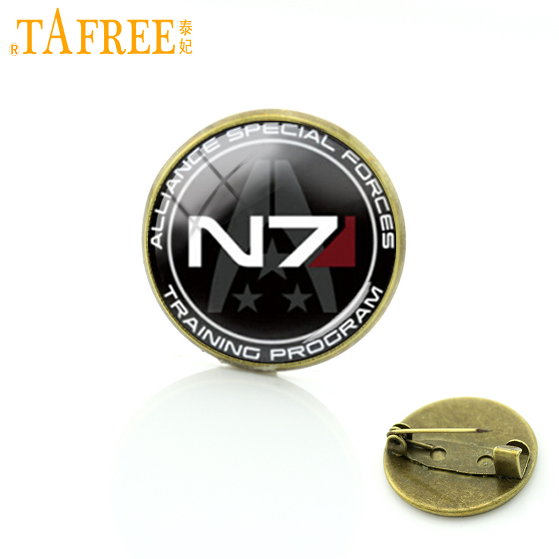 TAFREE Elegant charming winter style Mass Effect Inspired N7 jewelry Mass Effect brooch pins vintage geek men jewelry badge C488
