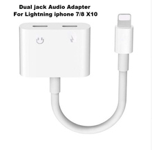 2in1 Earphone Audio Adapter/ Dual jack Audio Converter to 3.5MM headset Charging Call and Music For IOS 11. iPhone 7/8 Plus X10