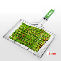 vegetables Portable BBQ Grilling Basket Stainless Steel Wooden Handle Healthy 304 stainless steel Barbecue Net for BBQ Grill