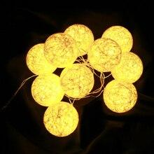 Leedsun 5 м 20LED Ткань сливочный хлопок LED Ball Строка Фея огни Xmas Свадебная вечеринка Романтический украшения лампы в Таиланде