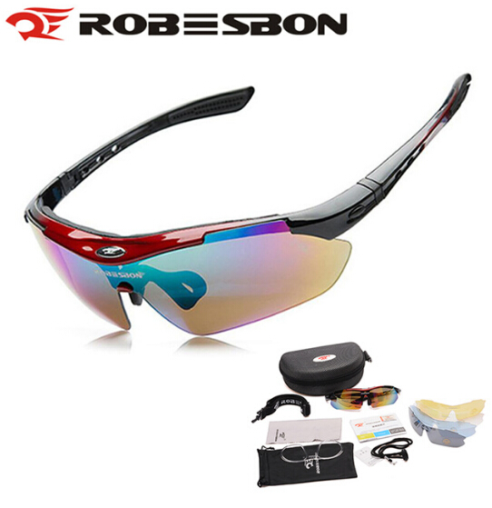 ROBESBON Bicycle Cycling Sunglasses UV400 Outdoor Sports Oculos Ciclismo Bike Sunglasses Road MTB Fishing Goggles Eyewear 5 Lens