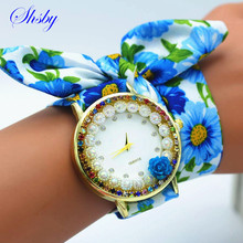 shsby New Ladies flower cloth wristwatch rose women dress watch colourful sparkling rhinestone fabric clock sweet girls watch