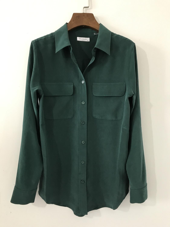 النساء قمصان 100% الحرير طويل الأكمام جيوب مزدوجة هوت فام بلوزة امرأة جديد 2019-في بلوزات وقمصان من ملابس نسائية على  مجموعة 3