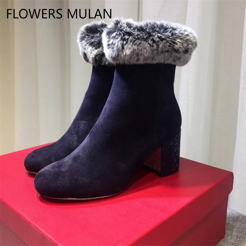 Suede Leather Women Boots Winter Warm Snow Ankle Boots Women Botas Mujer Slip On Fur High Heels Crystal Ankle Boots Women Shoes стоимость