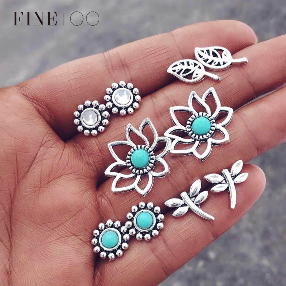 Vintage Tibetan Crystal Stone Dragonfly Leaf Flower Stud Earrings for Women Minimalist Angel Wings Arrow Moon Stud Earrings Set