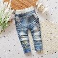 2017 Pantalones Casuales para Niños Lavado Ligero Unisex Elástico Cintura Niños Pantalones Personaje Regular Mediados de Cintura de Las Niñas Niños Ropa p222