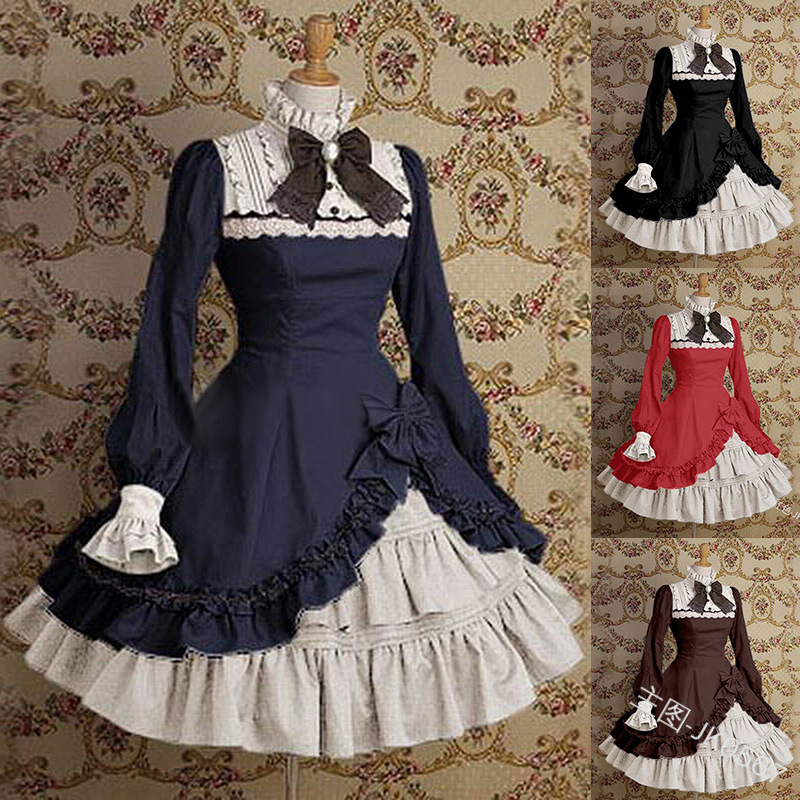 Palace vintage sweet <font><b>lolita</b></font> dress high collar flare sleeve bowknot lace victorian dress kawaii girl gothic <font><b>lolita</b></font> op loli cos image