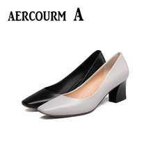 Aercourm A 2017 Women Cowhide Shoes Spring Autumn Genuine Leather Party Shoes Lady Shallow Mouth High Heels Wedding Shoes H827