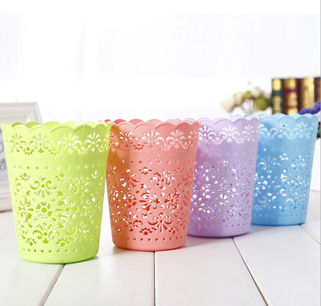 Sweet Lace Crown flower pots plastic pots Lace Mini Desktop trash ...