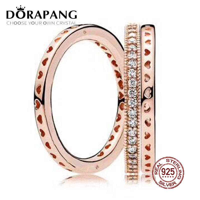 2018 NEW 100% 925 Sterling Silver Ring Rose Gold Love Stacked Ring Wedding Ring For Fashion Women DIY Gift Jewelry new pure au750 rose gold love ring lucky cute letter ring 1 13 1 23g hot sale