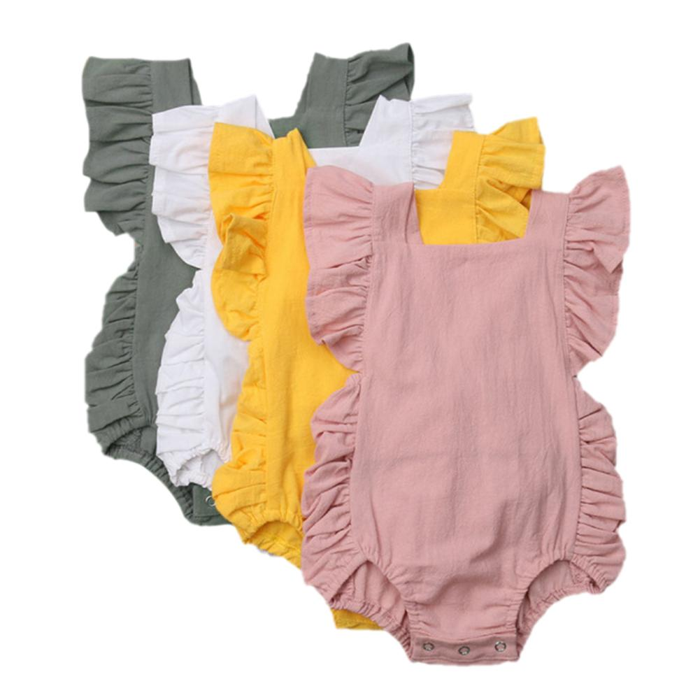 Newborn Baby Girls Ruffle Sleeveless Romper Backless High Waist Ruffle Jumpsuit Outfits Sunsuit in Bodysuits from Mother Kids